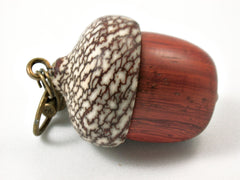 LV-3783  African Padauk & Betelnut Acorn Pendant Box, Charm, Pill Holder-SCREW CAP