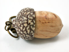 LV-3784  Masur Birch & Betelnut Acorn Box, Pill Holder, Secret Compartment Pendant-SCREW CAP