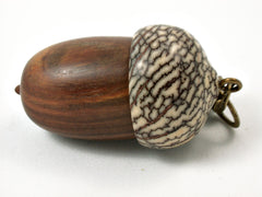 LV-3785  True Lignum Vitae & Betelnut Acorn Box, Pill Holder, Compartment Pendant-SCREW CAP