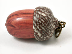 LV-3786 Tulipwood & Betelnut Acorn Pendant Box, Charm, Pill Holder-SCREW CAP