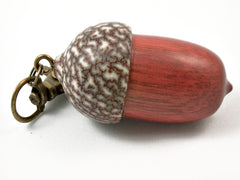 LV-3788 Satine & Betelnut Wooden Acorn Pendant Box, Memorial Jewelry-SCREW CAP