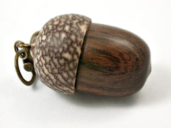 LV-3791  Desert Ironwood & Betelnut Acorn Pendant Box, Charm, Pill Holder-SCREW CAP