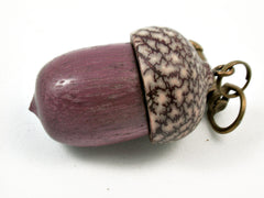 LV-3796  Purpleheart & Betelnut  Acorn Box, Pill Holder, Compartment Pendant-SCREW CAP