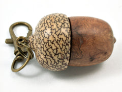 LV-3799  River Sheoak Burl & Betelnut Acorn Pendant Box, Charm, Pill Holder-SCREW CAP