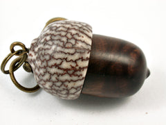 LV-3800  Desert Ironwood & Betelnut Acorn Pendant Box, Charm, Pill Holder-SCREW CAP