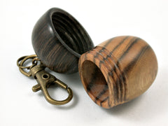 LV-3801  Chinese Pistachio & Burmese Blackwood Acorn Pendant Box, Charm, Pill Holder-SCREW CAP