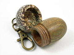 LV-3802  Verawood & Betelnut Acorn Box, Pill Holder, Compartment Pendant-SCREW CAP
