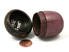 LV-3905 Purpleheart & Black Palm Acorn Trinket Box, Keepsake, Jewelry Box-SCREW CAP