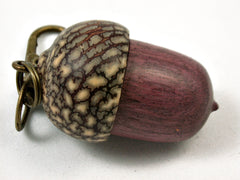 LV-3923  Purpleheart & Betelnut  Acorn Box, Pill Holder, Compartment Pendant-SCREW CAP