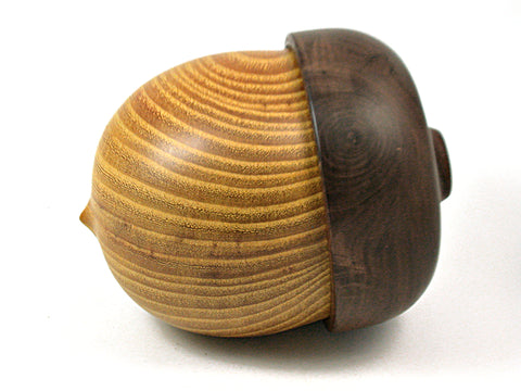 LV-3933 Osage Orange & Black Walnut Hand Turned Wooden Acorn Jewelry Box, Keepsake, Pet Urn-SCREW CAP