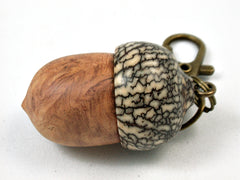 LV-3935 Afzelia Burl & Betelnut Hand Turned Wooden Acorn Pill Box, Keepsake-SCREW CAP