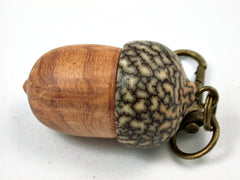 LV-3936 Afzelia Burl & Betelnut Hand Turned Wooden Acorn Pill Box, Keepsake-SCREW CAP