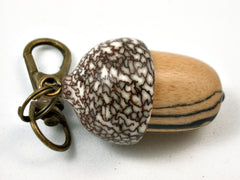 LV-3945 Black & White Ebony & Betelnut Acorn Pendant, Bag Charm, Secret Compartment-SCREW CAP