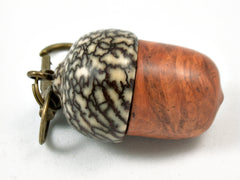 LV-3952 Amboyna Burl  & Betelnut Acorn Pendant Box, Charm, Pill Holder-SCREW CAP