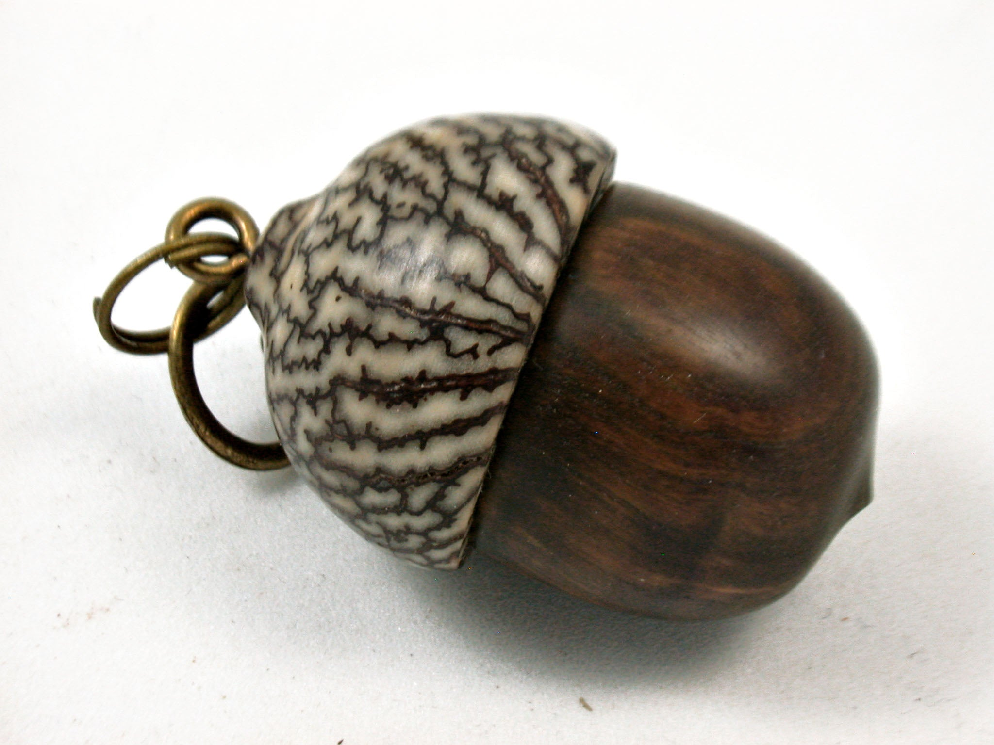 LV-3956  True Lignum Vitae & Betelnut Acorn Box, Pill Holder, Compartment Pendant-SCREW CAP