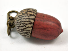 LV-3975  Redheart & Betelnut Wooden Acorn Pendant Box, Pill Fob, -SCREW CAP