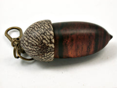 LV-3976 Cocobolo & Betel Nut Acorn Pendant Box, Pill Fob, Secret Compartment-SCREW CAP