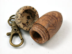 LV-3978  Olive Burl & Yolillo Palm Nut Acorn Pendant Box, Charm, Pill Holder-SCREW CAP