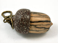 LV-3982 Black & White Ebony & Betelnut Acorn Pendant, Bag Charm, Secret Compartment-SCREW CAP