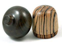 LV-3990 Black & White Ebony with Black Chacate Acorn Jewelry, Ring Box, Pill Box, Keepsake-SCREW CAP