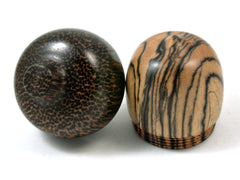 LV-3997 Black & White Ebony and Black Palm Acorn Jewelry, Ring Box, Pill Box, Keepsake-SCREW CAP