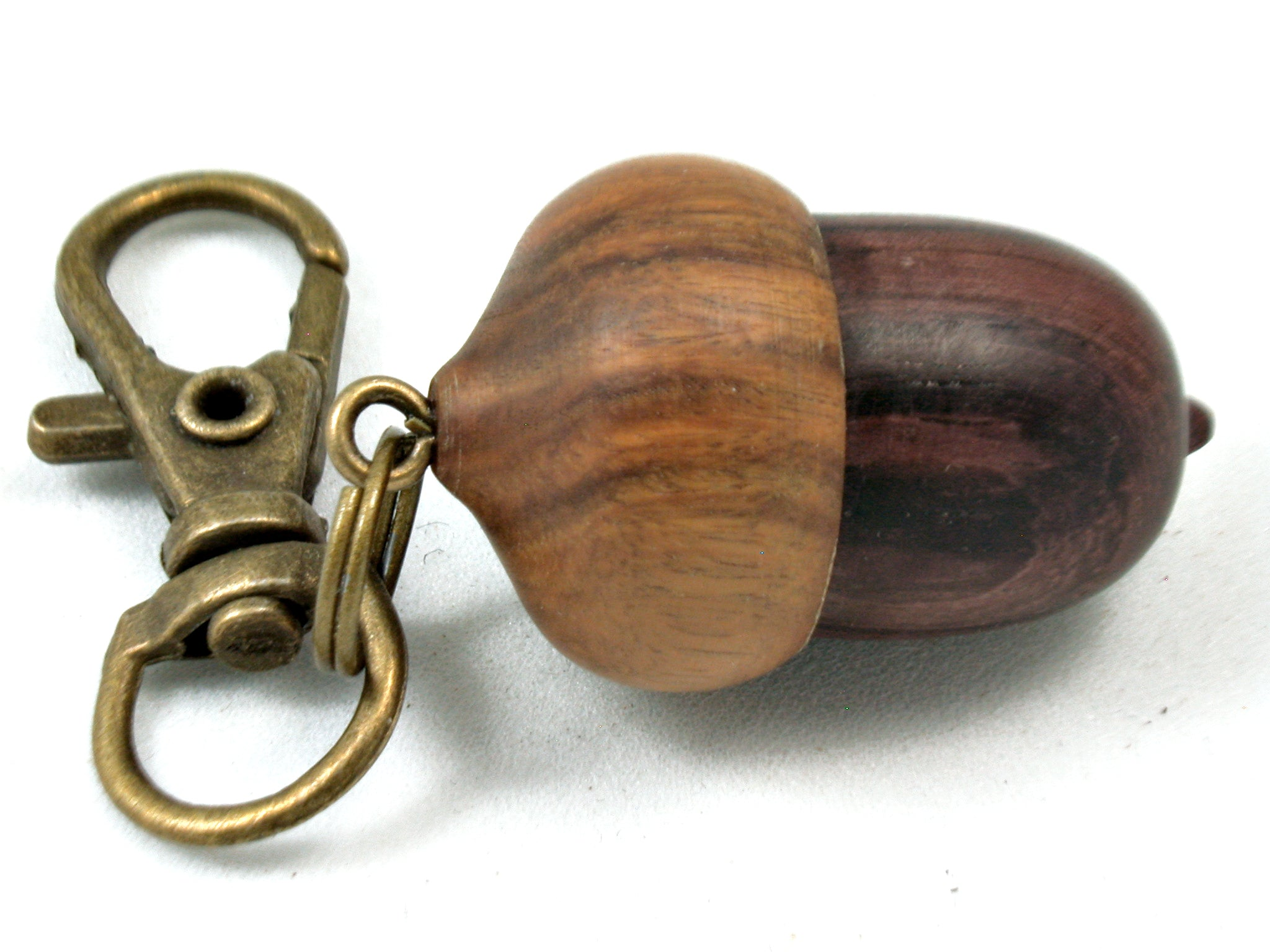 LV-4008 Camatillo &  Lignum Vitae Secret Compartment, Acorn Pendant, Pill Fob, Cremation Jewelry -SCREW CAP