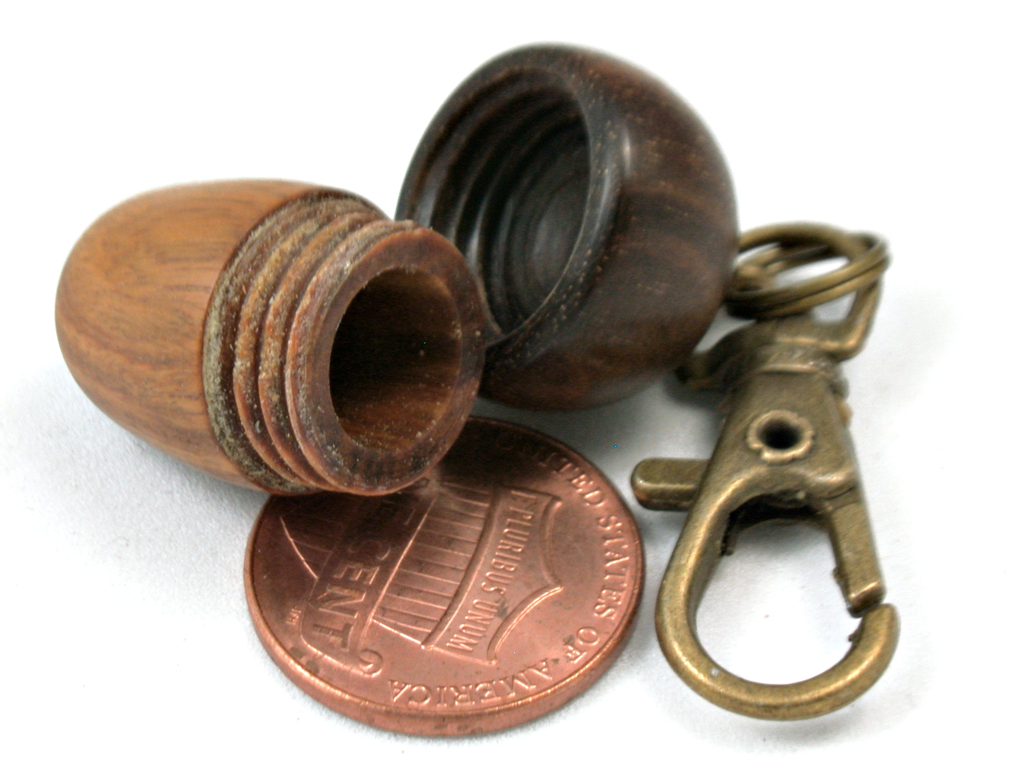 LV-4009 Lignum Vitae & Ironwood Secret Compartment, Acorn Pendant, Memorial Jewelry-SCREW CAP