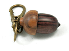 LV-4015 Camatillo &  Lignum Vitae Secret Compartment, Acorn Pendant, Pill Fob, Cremation Jewelry -SCREW CAP