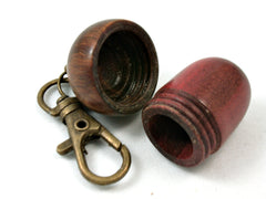 LV-4026 Redheart & Lignum Vitae Acorn Pill Box, Secret Compartment Pendant-SCREW CAP