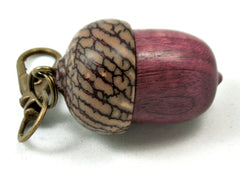 LV-4032  Purpleheart & Betelnut  Acorn Box, Pill Holder, Compartment Pendant-SCREW CAP