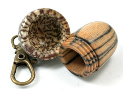 LV-4035 Black & White Ebony & Betelnut Acorn Pendant, Bag Charm, Secret Compartment-SCREW CAP