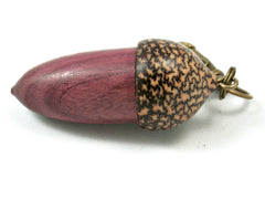 LV-4036  Purpleheart & Betelnut  Acorn Box, Pill Holder, Compartment Pendant-SCREW CAP