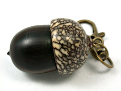 LV-4046  Mun Ebony & Betelnut Acorn Box, Pill Holder, Compartment Pendant-SCREW CAP