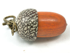 LV-4055  Sappanwood & Betelnut Acorn Pendant Box, Charm, Pill Holder-SCREW CAP