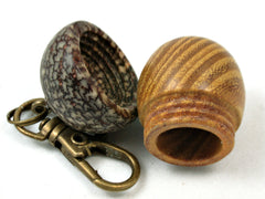LV-4057  Osage Orange & Betel Nut Acorn Pendant Box, Keychain, Pill Fob-SCREW CAP