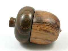 LV-4114  Desert Ironwood & Lignum Vitae Acorn Jewelry, Ring Box, Pill Box-SCREW CAP