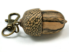 LV-4120 Black & White Ebony & Betelnut Acorn Pendant, Bag Charm, Secret Compartment-SCREW CAP