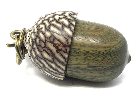 LV-4138 Verawood & Betelnut Acorn Box, Pill Holder, Compartment Pendant-SCREW CAP