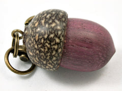 LV-4150  Purpleheart & Betelnut  Acorn Box, Pill Holder, Compartment Pendant-SCREW CAP