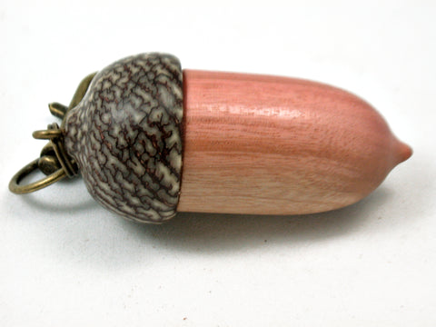 LV-4188  Pink Ivory & Betelnut Acorn Box, Bag Charm, Compartment Pendant-SCREW CAP