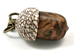 LV-4191  Pollyanna Burl & Betel Nut Acorn Pendant Box, Charm, Pill Holder-SCREW CAP
