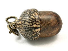 LV-4192 Pollyana Burl & Betelnut Pendant Acorn, Charm, Secret Compartment, Cremation Jewelry -SCREW CAP