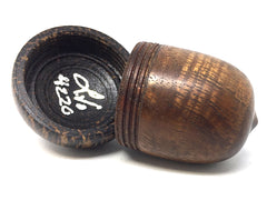 LV-4220 Curly Koa & Black Palm Acorn Jewelry, Ring Box, Pill Box, Gift Box-SCREW CAP