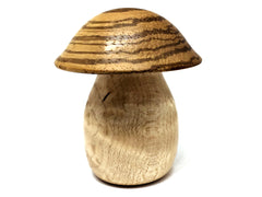 LV-4235 Zebrawood & Birdseye Maple Wooden Mushroom Keepsake Box, Pill, Jewelry Box-SCREW CAP