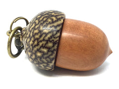 LV-4268  Pink Ivory & Betelnut Acorn Box, Bag Charm, Compartment Pendant-SCREW CAP
