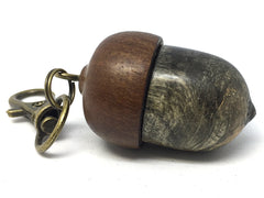 LV-4278 Buckeye Burl & Brown Ebony Acorn Key Fob, Pill Holder, Cash Stash-SCREW CAP