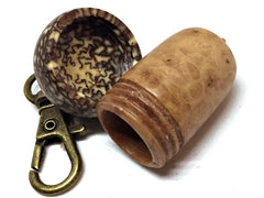 LV-2314  Turkish Briar Burl & Betelnut  Acorn Box, Pill Holder, Compartment Pendant-SCREW CAP