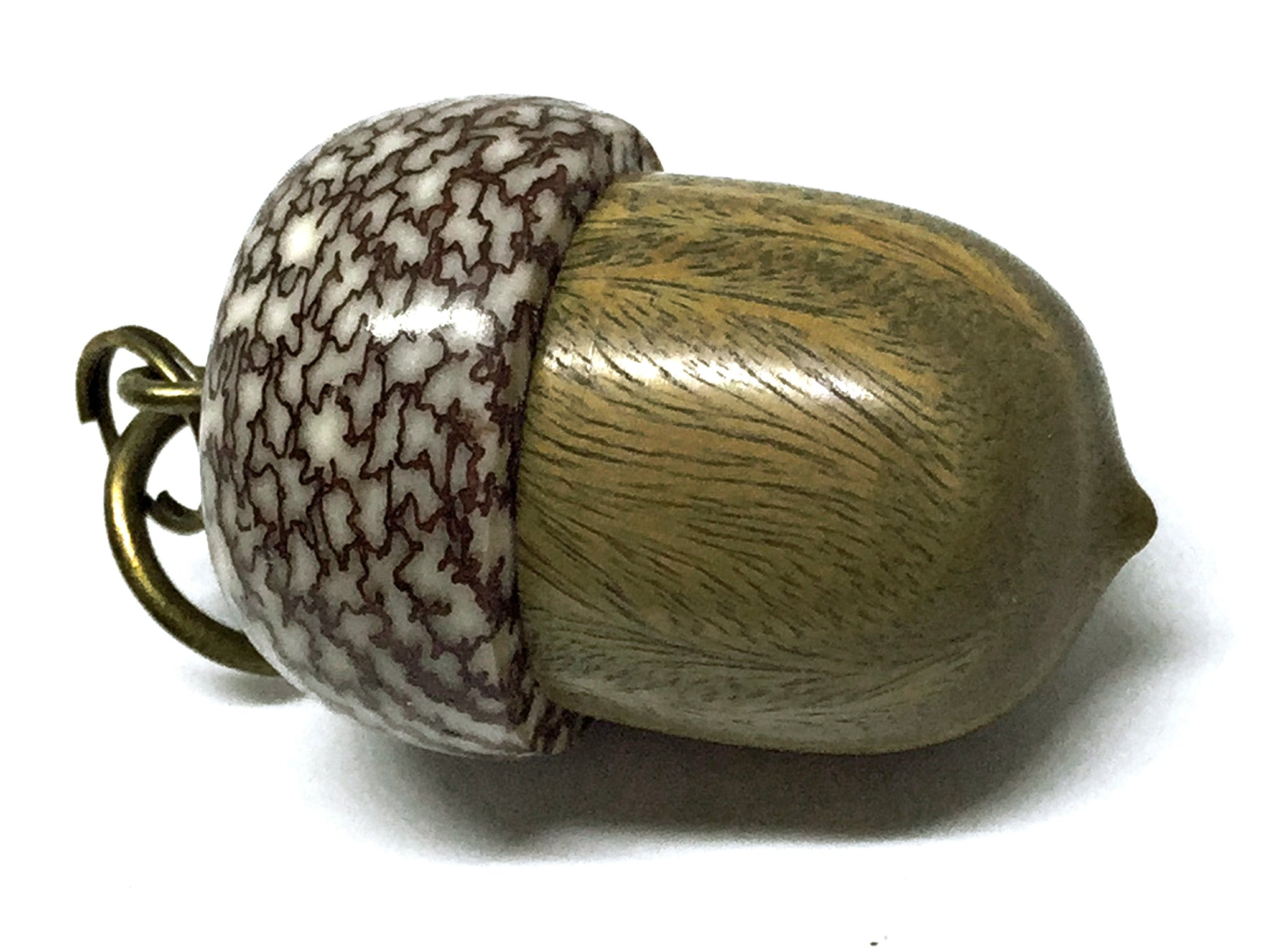 LV-4289 Verawood & Betelnut Acorn Box, Pill Holder, Compartment Pendant-SCREW CAP