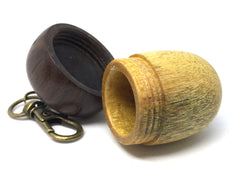 LV-4307 Acorn Pendant Box, Charm, Pill Holder from Yellowheart & Brown Ebony-SCREW CAP