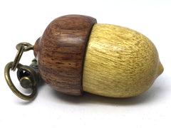LV-4308 Acorn Pendant Box, Charm, Pill Holder from Yellowheart & Nigerian Rosewood -SCREW CAP